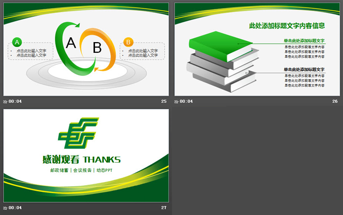 绿色曲线装饰的中国邮政储蓄银行PPT模板