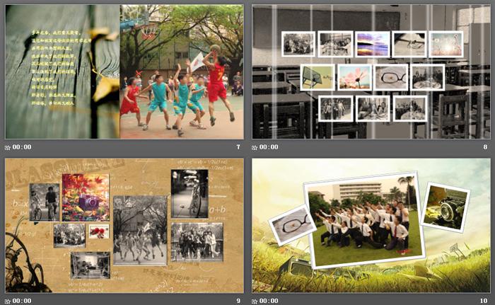 相机老照片背景的《匆匆那年》同学相册PPT模板