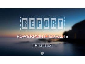 欧美模糊海景背景的iOS风格PPT模板免费下载