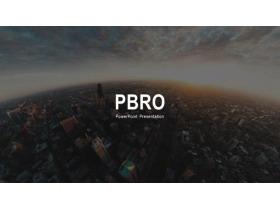 欧美城市风景背景的图片排版PPT模板