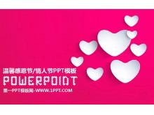粉色心形爱心背景的感恩节PPT模板