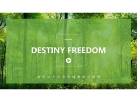 绿色清新森林图片排版背景自然风景PPT模板