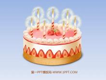 动态生日蛋糕PPT动画背景的生日快乐幻灯片模板